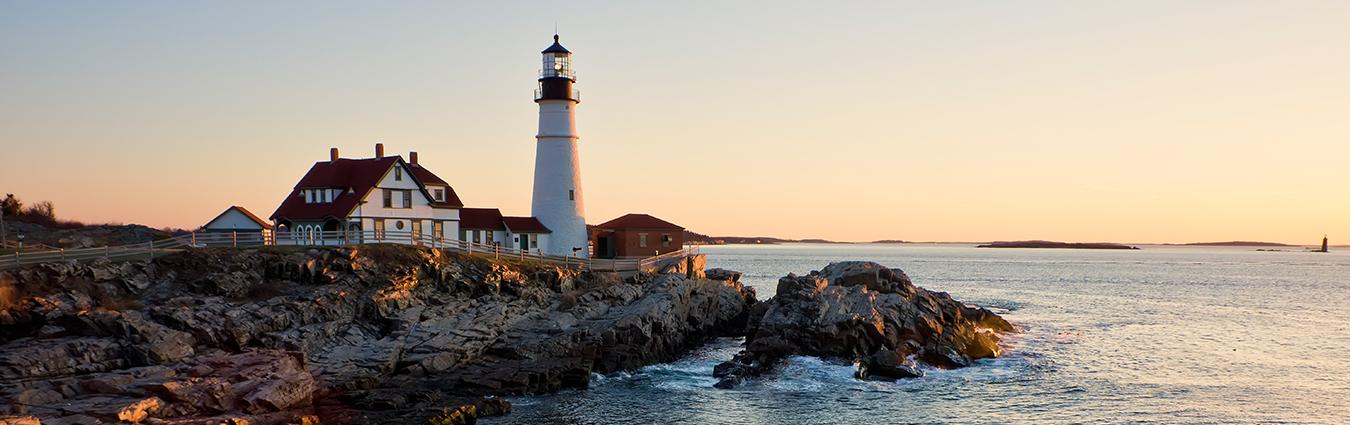 Lighthouse on the coast of New England